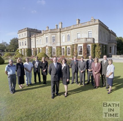 Local entrepreneur Jeffrey Thomas and his wife Jennifer with the team behind Hartham Park, Wiltshire, 1997