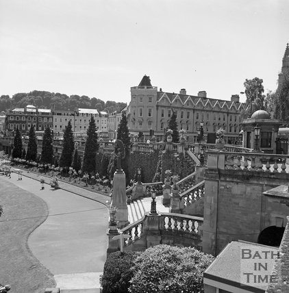 View across Parade Gardens towards Terrace Walk, c.1977