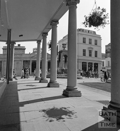 View from under the Colonnade of Bath Street towards the Mineral Water Fountain, Bath, c.1977