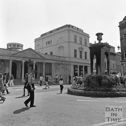 The Mineral Fountain and newly constructed Roman Baths shop, Bath, c.1977