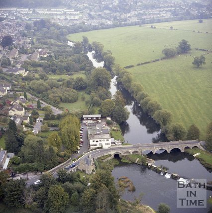 Aerial View of Batheaston Toll Bridge and the Old Mill Hotel, c.1980?