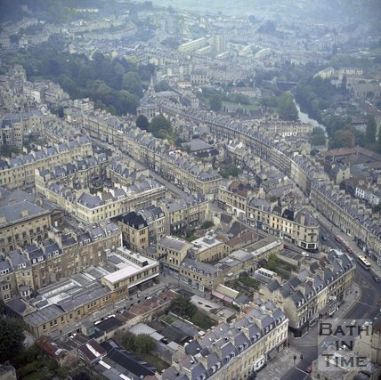 Aerial View of George Street, Paragon and Lansdown Hill, Bath, c.1980