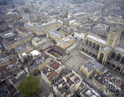 Aerial view of Bath city centre, c.1980