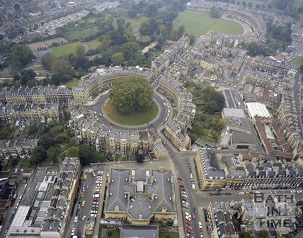 Aerial view of The Circus, Bath, c.1980
