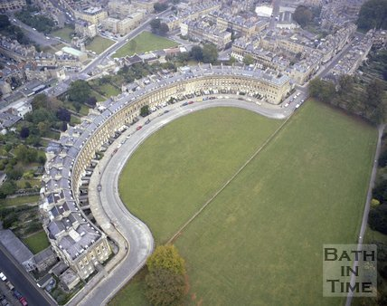 Aerial view of the Royal Crescent, Bath, c.1980