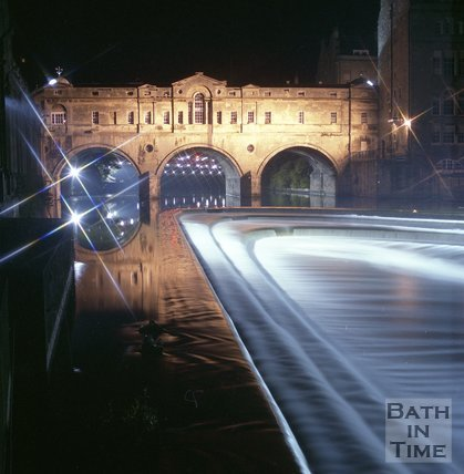 A Floodlit Pulteney Bridge and weir, Bath,  June 1985