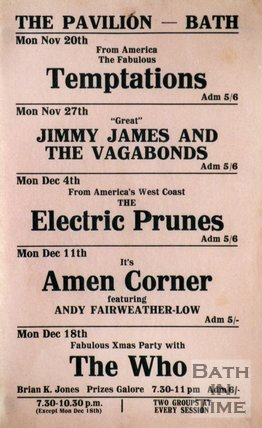 Flyer or Poster for The Temptations, Jimmy James and the Vagabonds, The Electric Prunes, Amen Corner and the Who at the Pavilion , Bath, 1967