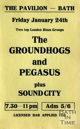 Flyer or Poster for The Groundhogs and Pegasus plus Sound City at the Pavilion, Bath, Friday January 24th 1969