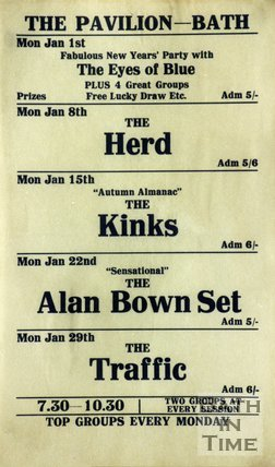 Flyer or Poster for The Eyes of Blue, The Herd, The Kinks, The Alan Brown Set, The Traffic at the Pavilion, Bath, 1968