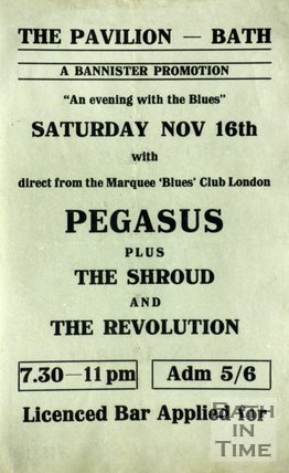 Flyer or Poster for Pegasus plus The Shroud and The Revolution at The Pavilion, Bath, Saturday Nov 16th 1968