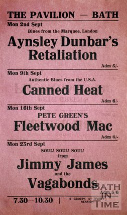 Flyer or Poster for Aynsley Dunbar's Retaliation, Canned Heat, Peter Green's Fleetwood Mac and Jimmy James and the Vagabonds at The Pavilion, Bath, 1968