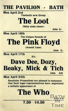 Flyer or Poster for The Loot, The Pink Floyd, Dave Dee, Dozy, Beaky, Mick & Tich and The Who, 1967