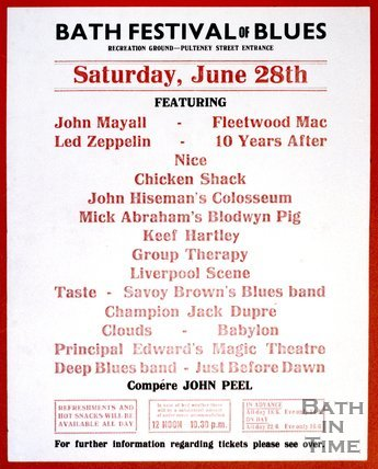 Poster for the Bath Festival of Blues, Bath Recreation Ground, Saturday June 28th 1969