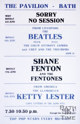 Flyer or Poster for The Beatles at the Pavilion, Bath, Monday 10th June 1963 Pavilion Bath