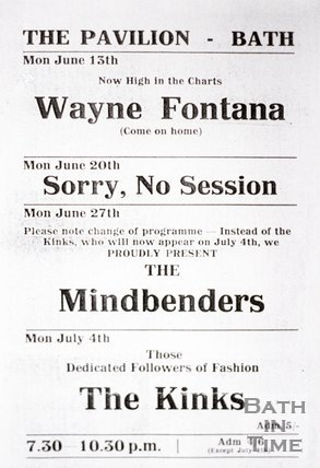 Flyer or Poster for Wayne Fontana, The Mindbenders and The Kinks at The Pavilion, Bath, 1966