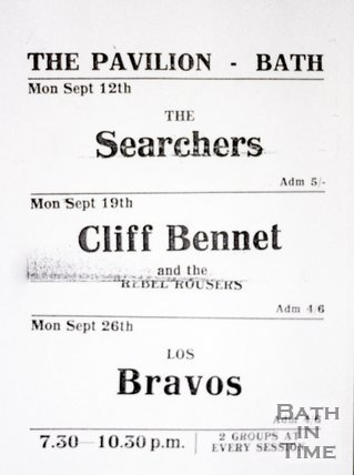 Flyer or Poster for The Searchers, Cliff Bennet and the Rebel Rousers and Los Bravos at The Pavilion, Bath, 1966