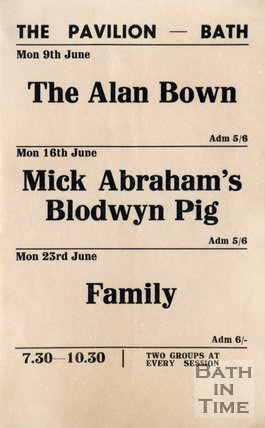 Flyer or Poster for The Alan Bown, Mick Abraham's Blodwyn Pig and Family at The Pavilion, Bath, 1969