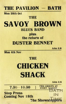 Flyer or Poster for Savoy Brown plus Duster Bennett & Chicken Shack at Bath Pavilion, Mon 28th October 1968