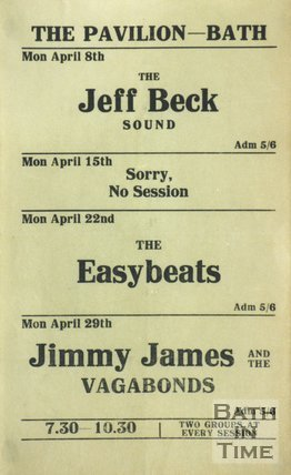 Flyer or Poster for The Jeff Beck Sound, The Easybeats and Jimmy James and The Vagabonds at The Pavilion, Bath, 1968