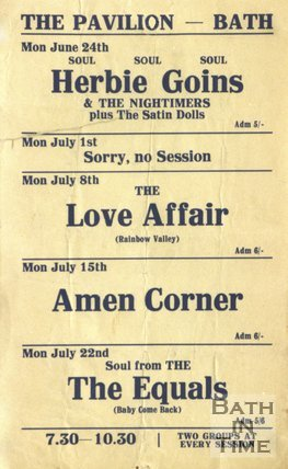 Flyer or Poster for Herbie Goins & The Nightimers, The Love Affair, Amen Corner and The Equals at The Pavilion, Bath, 1968