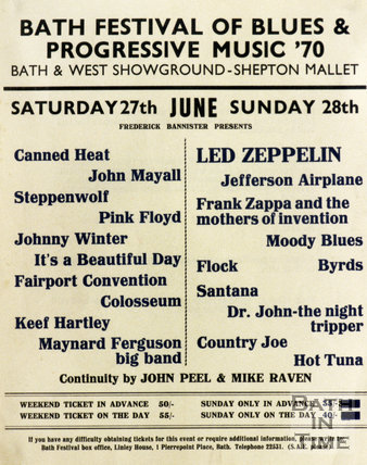 Poster for the Bath Festival of Blues & Progressive Music, 1970