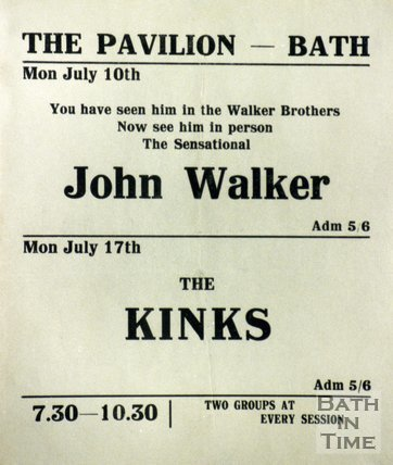 Flyer or Poster for John Walker from the Walker Brothers and The Kinks at The Pavilion, Bath, 1967