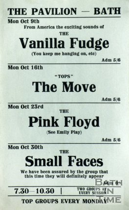 Flyer or Poster for Vanilla Fudge, The Move, Pink Floyd and The Small Faces at the Pavilion Bath, 1967