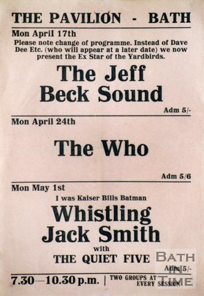 Flyer or Poster for The Jeff Beck Sound, The Who and Whistling Jack Smith with The Quiet Five at The Pavilion, Bath, 1967