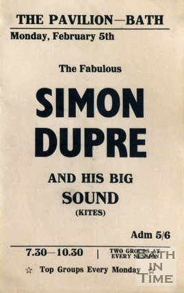 Flyer or Poster for Simon Dupre and his Big Sound at The Pavilion, Bath, 1968