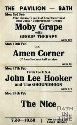 Flyer or Poster for Moby Grape with Group Therapy, Amen Corner, John lee Hooker and The Groundhogs and The Nice at The Pavilion, Bath, 1969