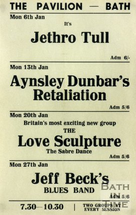 Flyer or Poster for Jethro Tull, Aynsley Dunbar's Retaliation, The Love Sculpture (featuring Dave Edmunds) and Jeff Beck's Blues Band at The Pavilion, Bath, 1969