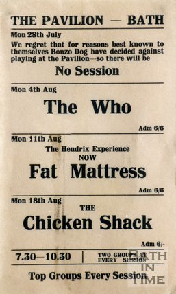 Flyer or Poster for The Who, Fat Mattress and The Chicken Shack at The Pavilion, Bath, 1969