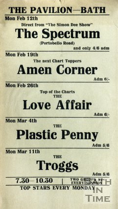 Flyer or Poster for The Spectrum, Amen Corner, The Love Affair, The Plastic Penny and The Troggs at The Pavilion, Bath, 1968