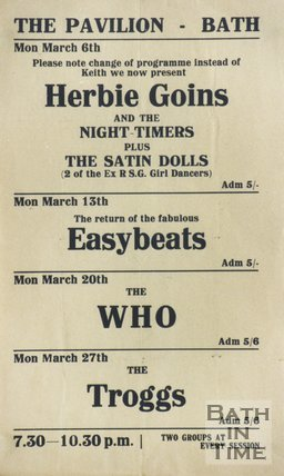 Flyer or Poster for Herbie Goins and The Nightimers, The Easybeats, The Who and The Troggs at The Pavilion, Bath, 1967