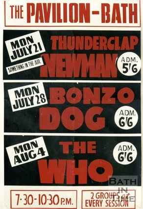 Flyer or Poster for Thunderclap Newman, Bonzo Dog and The Who, The Pavilion, Bath 1969