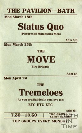 Flyer or Poster for Status Quo, The Move and The Tremeloes, Pavilion, Bath 1968