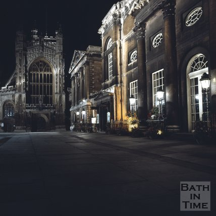 Bath Abbey and Pump Room in the dark, c.1975