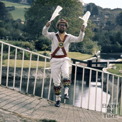 A Bathampton Morris Dancer on a lock at Widcombe, on the Kennet & Avon Canal, Bath, c.1976