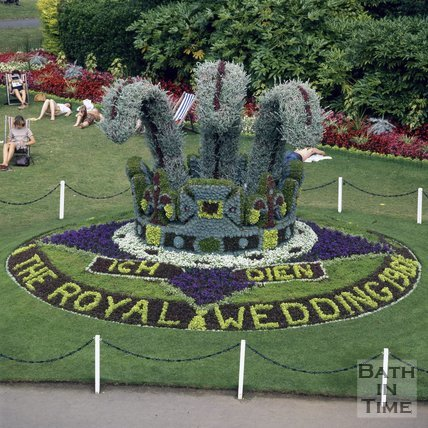 Floral Display in Parade Gardens for the Royal Wedding, Bath, 1981