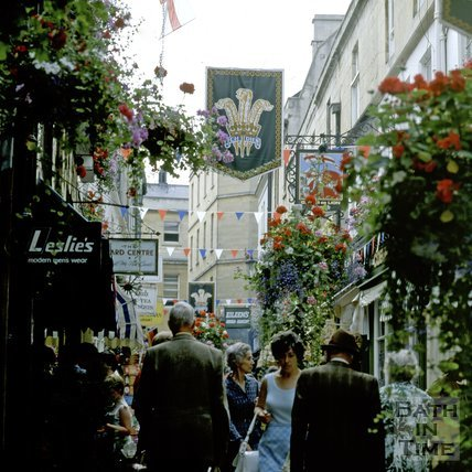 Northumberland Place decorated for the Royal Wedding, Bath, 1981