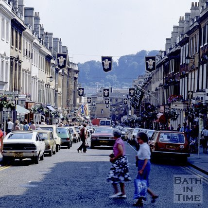 Milsom Street decorated for the Royal Wedding, Bath, 1981