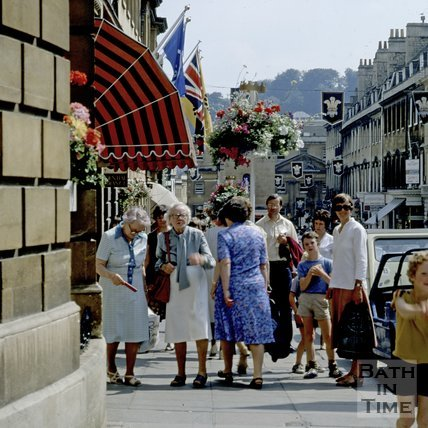 Elderly shoppers on Milsom Street, Bath, decorated for the Royal Wedding, 1981