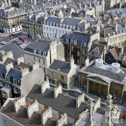 View of York Street from the tower of Bath Abbey, Bath, c.1976