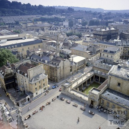 View of Kingston Parade and the Roman Baths from the tower of Bath Abbey, Bath, c.1980