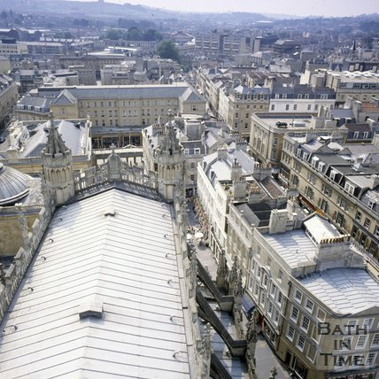 View towards Arlington House from the tower of Bath Abbey, c.1980