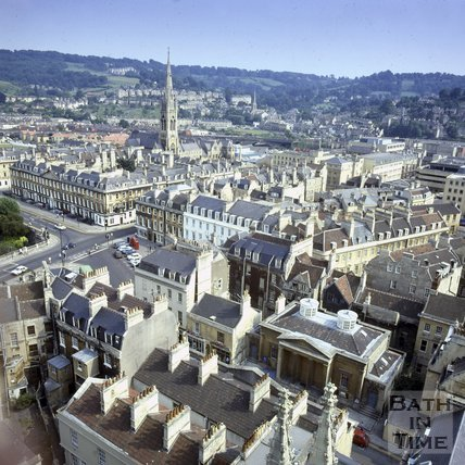 View southeast from the tower of Bath Abbey, Bath, c.1980