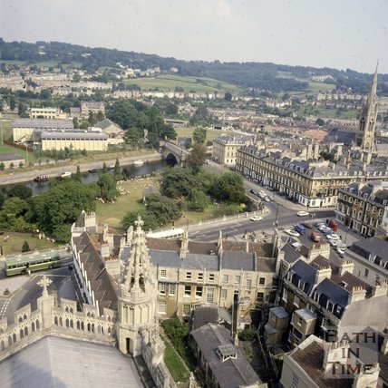 View towards the south east over Parade Gardens from the tower of Bath Abbey, c1980