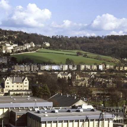 View from the Empire Hotel towards the fields at Bathwick, Bath, c.1974
