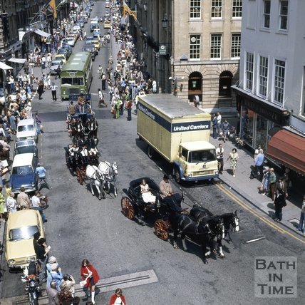 Parade on Milsom Street, Bath for the opening of Bath Festival, c.1975