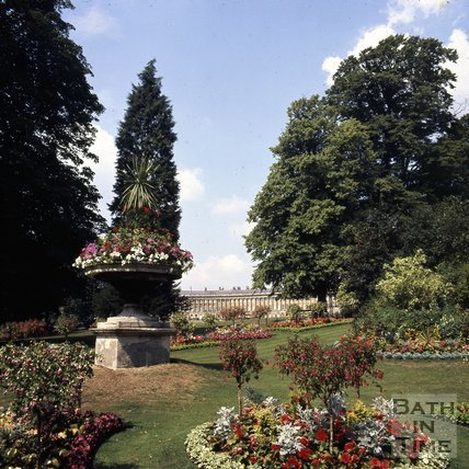 Floral Display in Royal Victoria Park with the Royal Crescent in the background, c.1975 - 1980